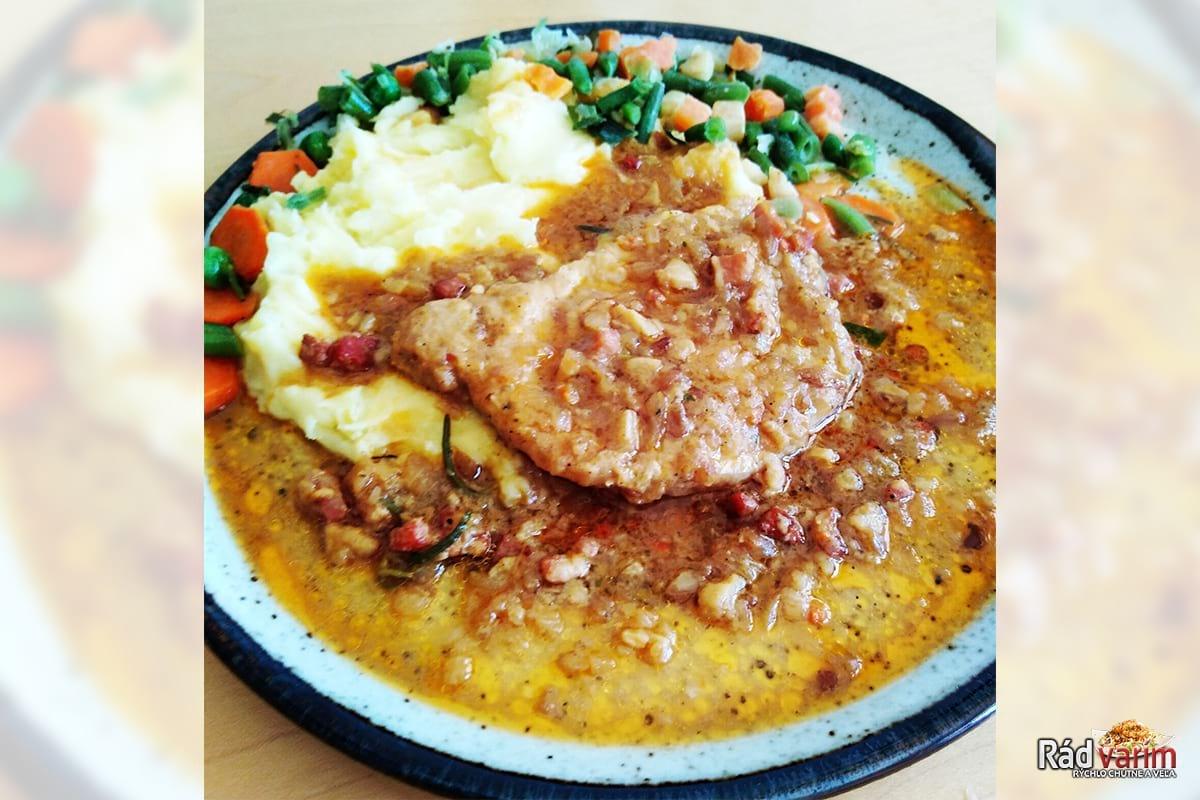 Bravčový plátok na horčici a zemiaková kaša