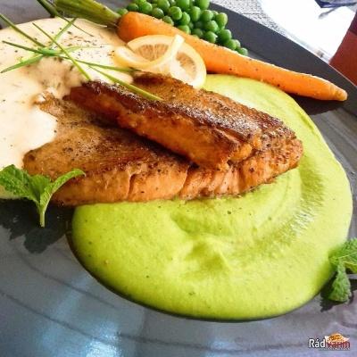 Ryba na masle s hráškovým pyré